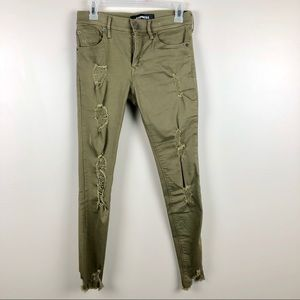 EXPRESS Olive Green Distressed Ankle Jeans